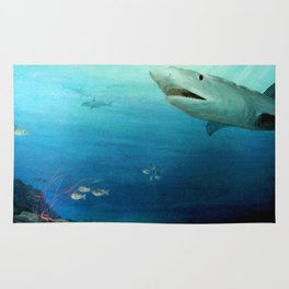 Shark Swimming by Fish in the Ocean Rug