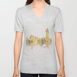 Colorful Stanford California Skyline - University Unisex V-Neck