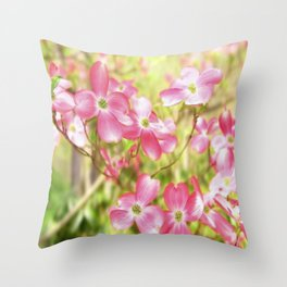 Pink Dogwood Flowering Tree In Spring Time Throw Pillow