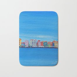 Willemstad Curacao Waterfront in Blue Bath Mat