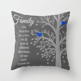 Family Tree Quote Art Throw Pillow