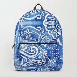 Batik Blue and White Mandala Backpack
