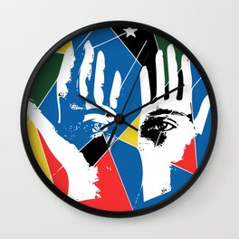 Mystic Hands Vintage Graphic Design Art Decoration Wall Clock