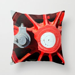 Grunge Red Wheel And White Driving Rod Of A Vintage Steam Engine Locomotive Throw Pillow