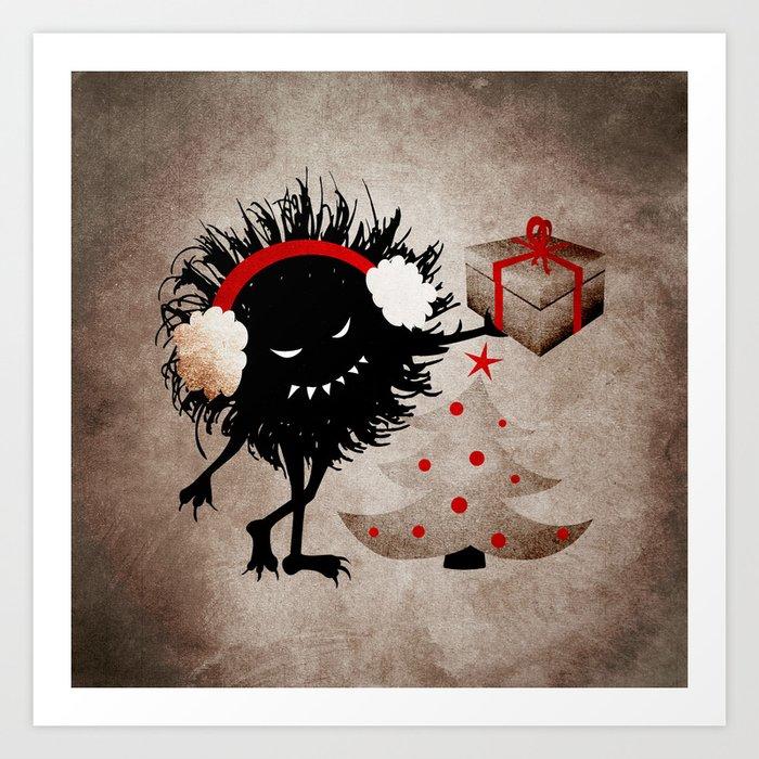 Evil Bug Gives Christmas Present Art Print