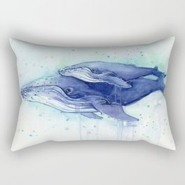 Humpback Whale Watercolor Mom and Baby Painting Whales Sea Creatures Rectangular Pillow