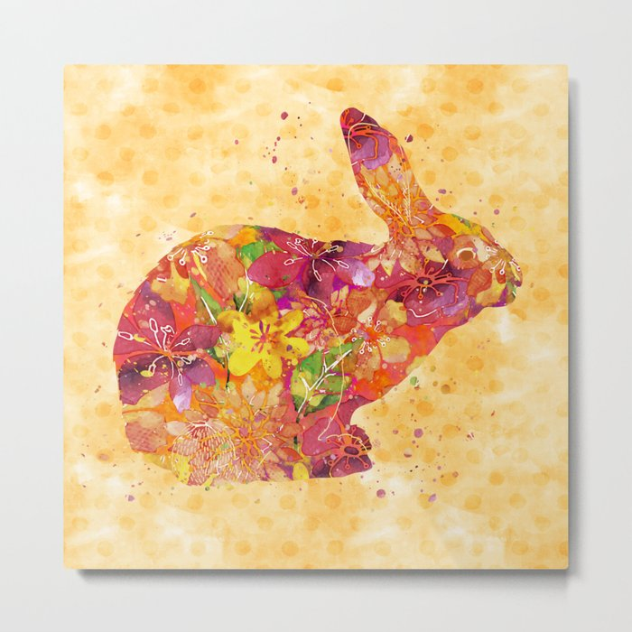 Happy Bunny flower watercolor pattern rabbit Metal Print