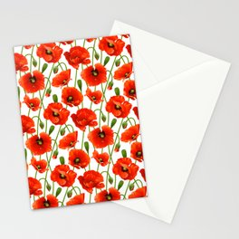 Beautiful Red Poppy Flowers Stationery Cards