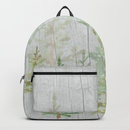 Pine forest on weathered wood Backpack