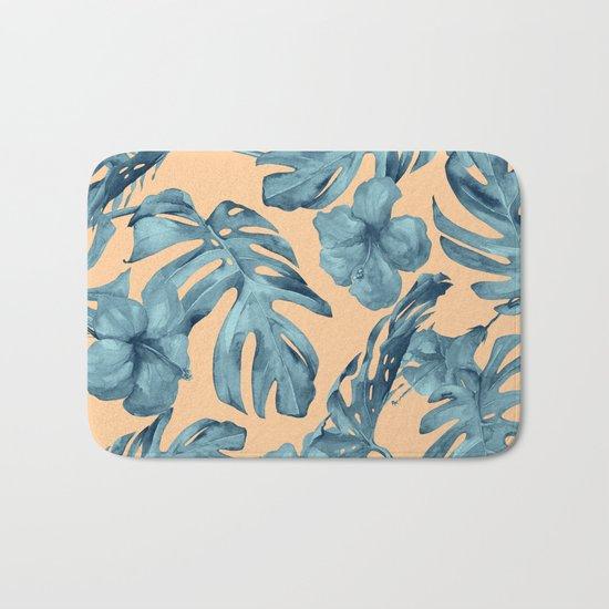 Island Life Hibiscus Palm Apricot Teal Blue Bath Mat