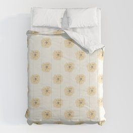 Modern Flowers Tan, Gold, Yellow, Grey Symmetrical, Elegant Simple Floral Repeat Contemporary Design Comforters