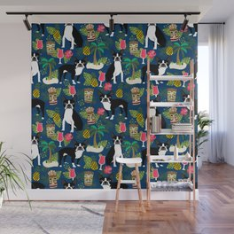 Boston Terrier tiki tropical palm trees cocktails vacation dog breed pet friendly pattern Wall Mural