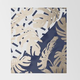 Simply Tropical Nautical Navy Memphis Palm Leaves Throw Blanket