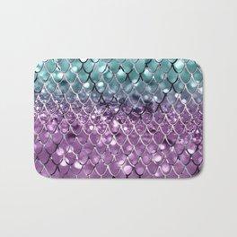 Mermaid Scales on Aqua Purple MERMAID Girls Glitter #2 #shiny #decor #art #society6 Bath Mat