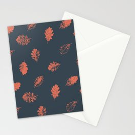 Oak leaves seamless pattern design, terracotta color leaves on charcoal background Stationery Cards