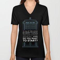Doctor Who - TARDIS Where Do You Want to Start Unisex V-Neck