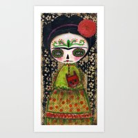 Frida The Catrina And The Devil - Dia De Los Muertos Mixed Media Art Art Print