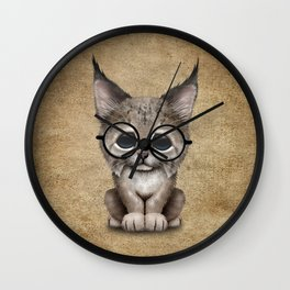 Cute Baby Lynx Cub Wearing Glasses Wall Clock