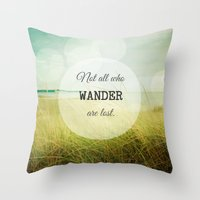 wander Throw Pillows featuring Wander by Olivia Joy StClaire