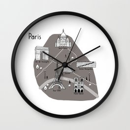 Mapping Paris - Grey Wall Clock