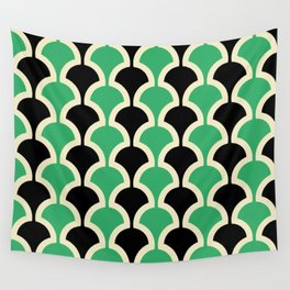 Classic Fan or Scallop Pattern 447 Black and Green Wall Tapestry