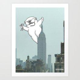 Pug kong, Mochi the pug taking New York Art Print