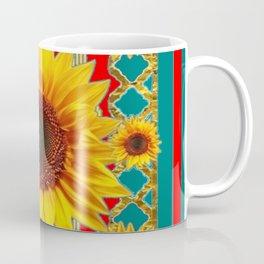 Red & Teal Sunflowers Pattern Art Coffee Mug