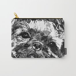 Shih Tzu Dog Art In Black And White by Sharon Cummings Carry-All Pouch