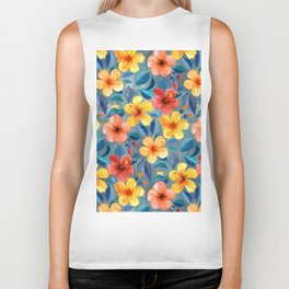 Colorful Watercolor Hibiscus on Grey Blue Biker Tank