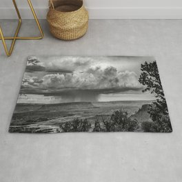 Rainmaker - Storm Over Canyonlands National Park Utah in Black and White Rug