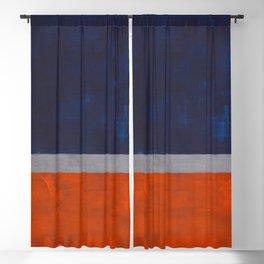 Minimalist Mid Century Rothko Color Field Navy Blue Dark Orange Grey Accent Square Color Block Blackout Curtain