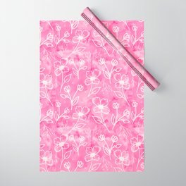 11 Small Flowers on Pink Watercolor Wrapping Paper