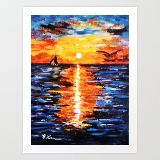 Title: Sunset Over The Sea Art Print