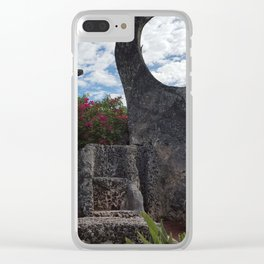 Coral Castle moon and planet Clear iPhone Case