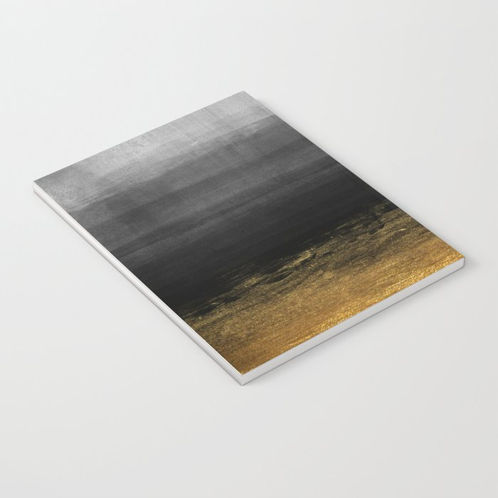 Black and Gold grunge stripes on modern grey concrete abstract background- Stripe-Striped Notebook