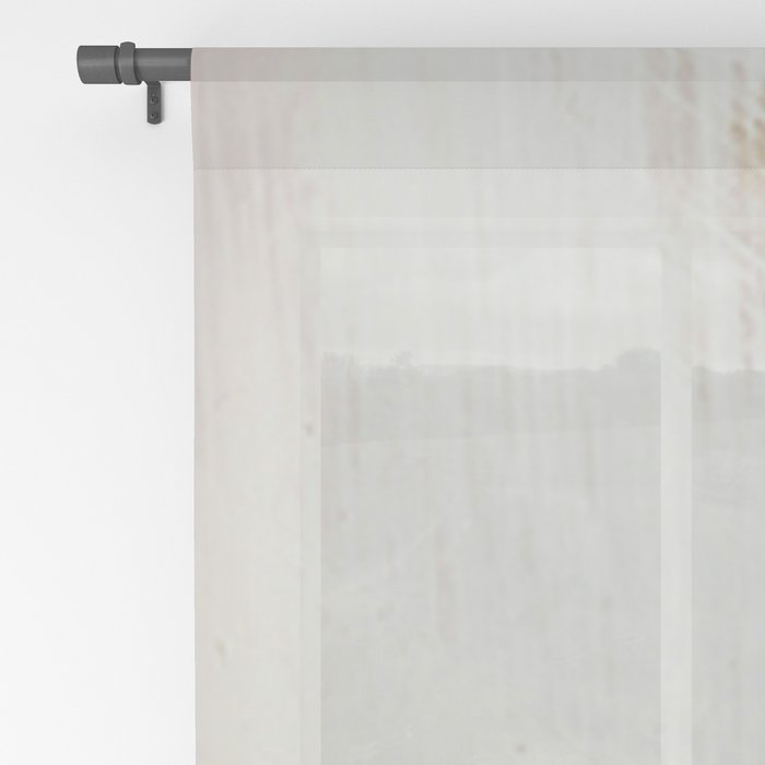 Sunrise [2]: a bright, colorful abstract piece in pink, gold, black,and white Sheer Curtain