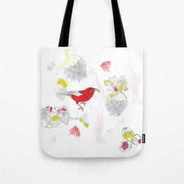 Red Ohia Lehua and Iwi Bird Tote Bag