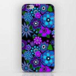 Yesterday People Super groovy Flowers dark base purple iPhone Skin