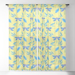 Pretty beautiful dragonflies, leaves elegant stylish bright sunny yellow spring nature happy pattern Sheer Curtain