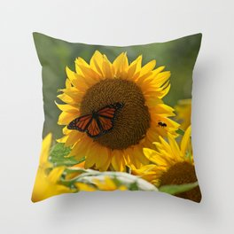 The butterfly the bee and the sunflower Throw Pillow