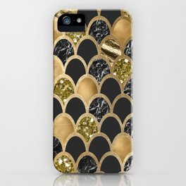 Ebony ink - golden mermaid scales iPhone Case
