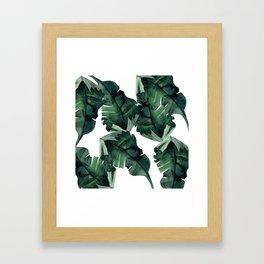 Banana Leaves Pattern Green Framed Art Print