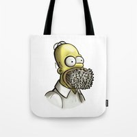 simpson Tote Bags featuring Homer Simpson [File Photo] by ieIndigoEast