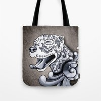 pit bull Tote Bags featuring Ornamental Pit Bull by Pretty In Ink