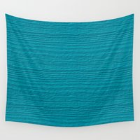 scuba Wall Tapestries featuring Scuba Blue Wood Grain Color Accent by Sara Valor