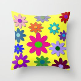 Flower Power, Cute Flowers, Pretty Colorful Flowers Throw Pillow