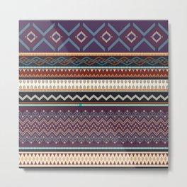 Boho Geometric Stripe 3 Metal Print