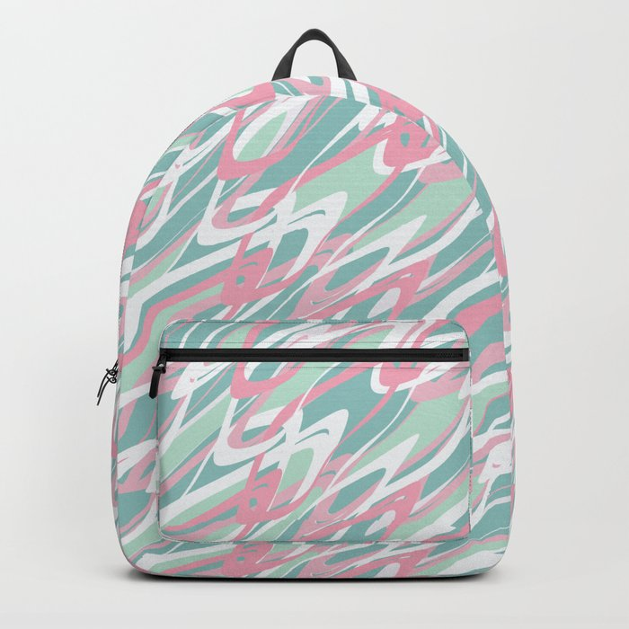 Abstract pink turquoise waves . Backpack