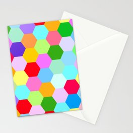 Multicoloured Hexagon Pattern Stationery Cards