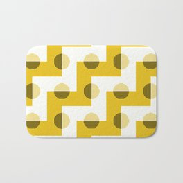 Geometric Zig Zags & Circles Horizon Pattern 6 - Sun shine Yellow Bath Mat